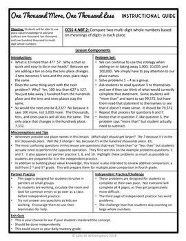 One Thousand More, One Thousand Less, 4th Grade Lesson Packet & Exit Quiz