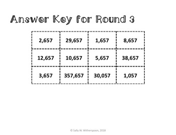 One Thousand More, One Thousand Less, 4th Grade Number Sorting Game, 10 Rounds