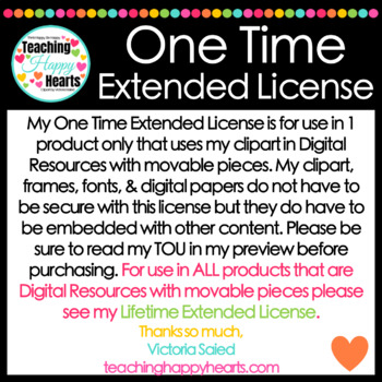 One Time Extended License for Clipart