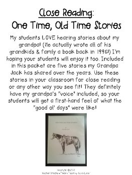 Close Reading Comprehension Passages and Questions - Stories from Days Past
