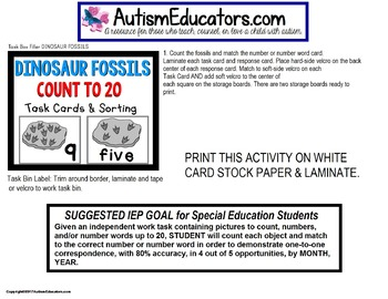 """One To One Correspondence To 20 DINOSAUR FOSSILS Task Cards """"Task Box Filler"""""""