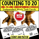 "One To One Correspondence To 20 DINOSAUR FOSSILS Task Cards ""Task Box Filler"""