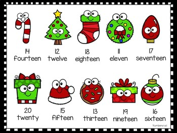 One To One Correspondence Numbers 1-20 - Christmas