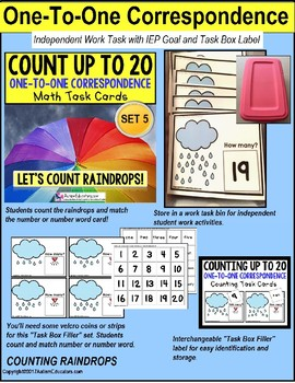 """One To One Correspondence RAINDROPS Counting To 20 TASK CARDS """"TASK BOX FILLER"""""""