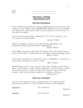 One Tough Grammar Exam! Punctuation, Vocab, Fragments, and more!
