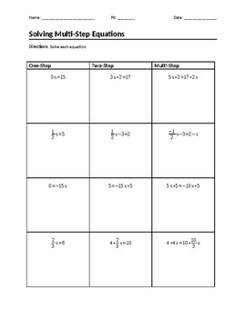 One/Two/Multi-Step Equations