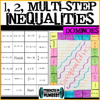 One, Two, Multi-Step Inequalities Dominoes Puzzle 4 Interactive Notebook