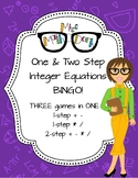 One & Two-Step Integer Equation Bingo multiple games one board
