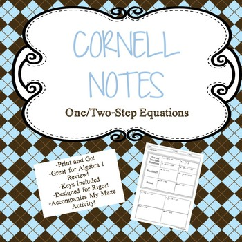 One/Two Step Equations Cornell Notes