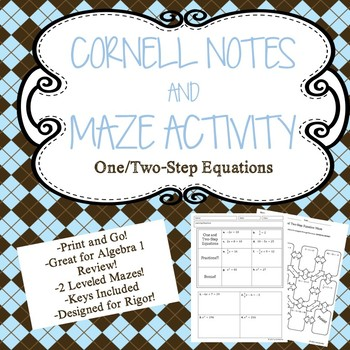 One/Two Step Equations Cornell Notes PLUS Activity