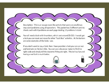 One & Two Step Mix Operations Word Problems-Lock Box Escape Room