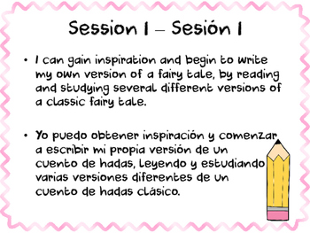 One Upon a Time Adapting FairyTales Learning Targets - Bilingual