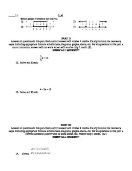One Variable Equation and Inequality Test Common Core