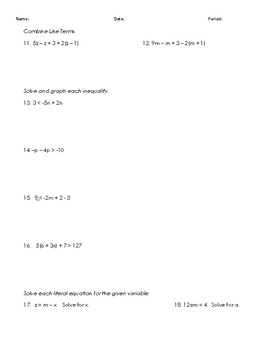 One Variable Equation and Inequality Test Review