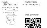 One Variable Equations Review Booklet