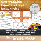 One-Variable Equations and Inequalities-(7th Grade Math TEKS 7.10A-C & 7.11A-C)