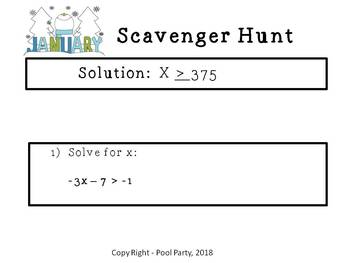 One Variable Inequalities - Scavenger Hunt (Exit Slips Provided)