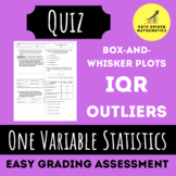 One Variable Statistics Quiz 2 (Box-and-Whisker Plots, IQR