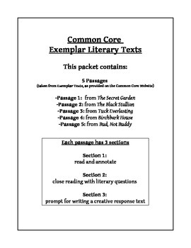 One Week Fiction Unit- Common Core Exemplar Literary Texts