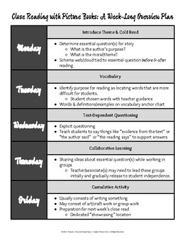 One Week Lesson Planning Guide for Close Reading with Picture Books