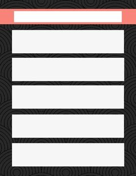 One Week Planning Sheet- Blank