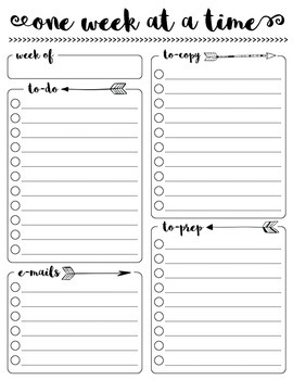 One Week at a Time {Teacher To-Do List FREEBIE}