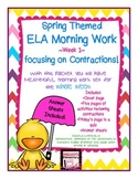 One Week of 3-5th ELA Morning Work! Contractions! CCSS! Try Before You Buy!