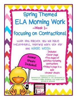 One Week of 3-5th ELA Morning Work! Contractions! CCSS! Tr