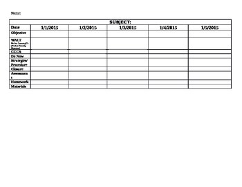 One Week on a Page Lesson Plan Template
