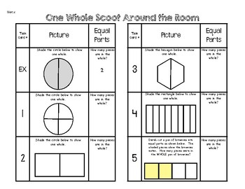 One Whole Fractions Scoot Around the Room