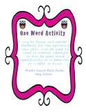 One Word Activity