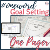 One Word Goal Setting One Pager -  #oneword - Distance Learning