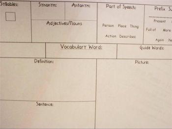 One Word Vocabulary Graphic Organizer