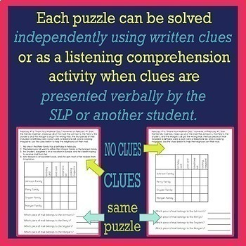 One Year of Logic Puzzles for Listening Comprehension for SLPs Bundle