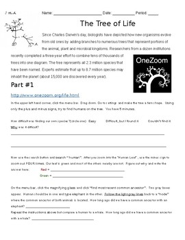 One Zoom: The Tree of Life Webquest