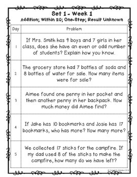 One A Day Word Problems For 2nd Grade Set 1 Common