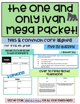 The One and Only Ivan-50 Read Aloud Questions, Character Organizers + 5 Quizzes!