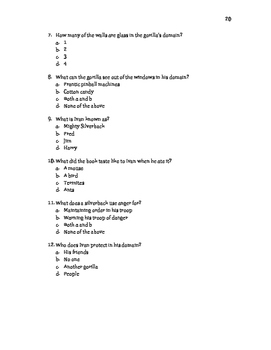 One and Only Ivan Vocab/Quizzes and Comprehension Questions