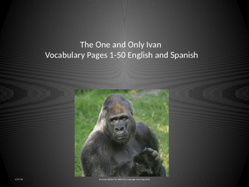 One and Only Ivan Vocabulary English and Spanish PowerPoint Pages 1-50