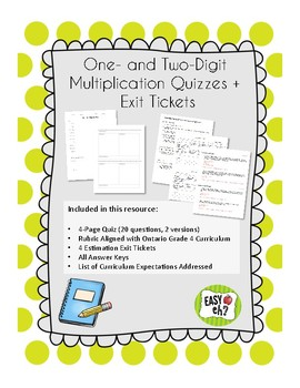 One- and Two-Digit Multiplication Quiz and Exit Ticket Assessment Bundle