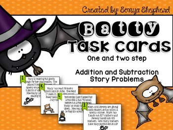 One and Two Step Addition and Subtraction Task card Set TEKS 3.4A