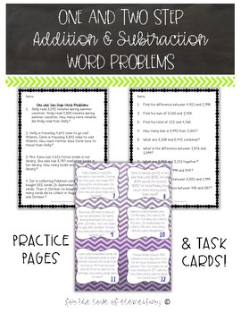 One and Two Step Addition and Subtraction Word Problems