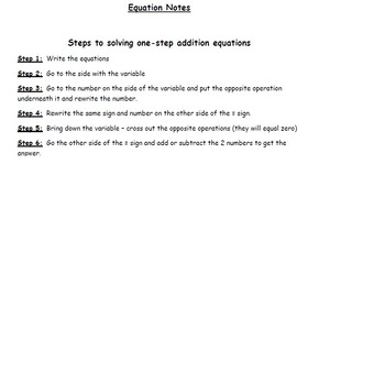 One and Two Step Equation Notes