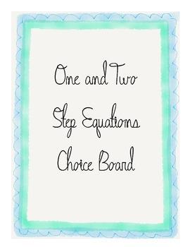 One and Two Step Equations Algebra 1 Choice board Menu