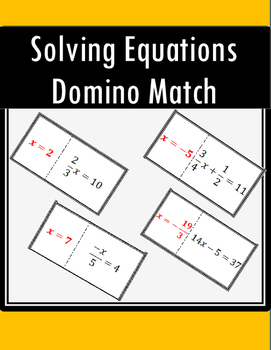 One and Two Step Equations - Domino Match