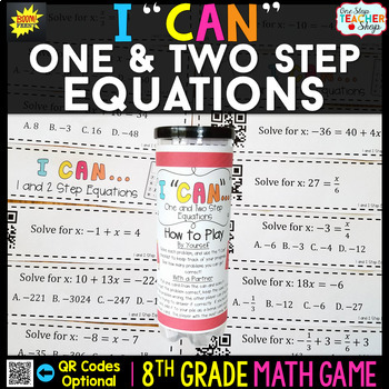 8th Grade One and Two Step Equations Game | 8th Grade Math Review