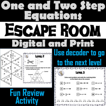 Solving One and Two Step Equations Game: Escape Room Math