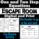 Solving One and Two Step Equations Game: Algebra Escape Room Math