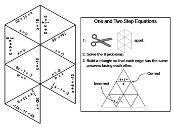 One and Two Step Equations Game: Math Tarsia Puzzle
