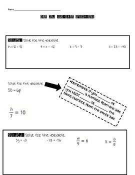 One and Two Step Equations Guided Notes
